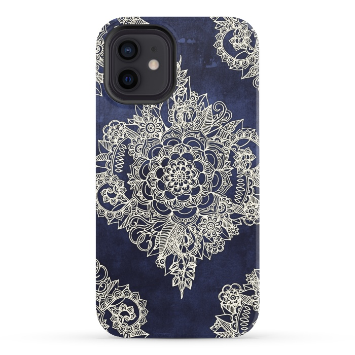Cream Floral Moroccan Pattern on Deep Indigo Ink