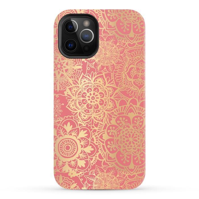 Coral Pink and Gold Mandala Pattern