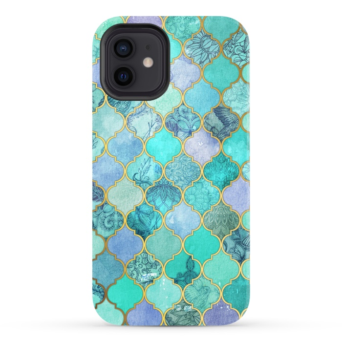 Cool Jade Icy Mint Decorative Moroccan Tile Pattern