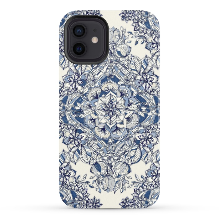 Floral Diamond Doodle in Dark Blue and Cream