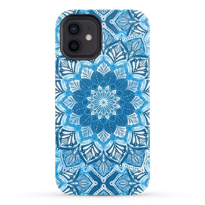 Boho Mandala in Monochrome Blue and White