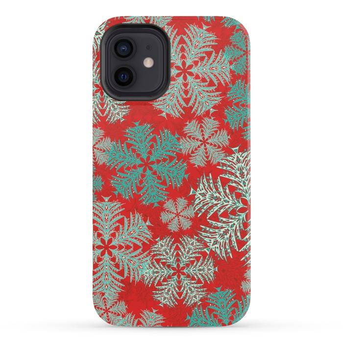 Xmas Snowflakes Red Aqua
