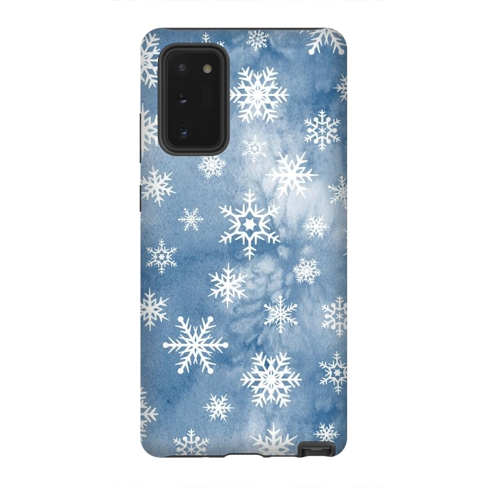 Blue white watercolor Christmas snowflakes