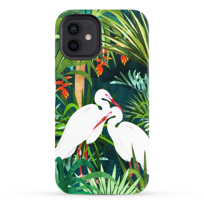 To Me, You're Perfect, Tropical Jungle Heron Watercolor Vibrant Painting, Stork Birds Wildlife Love