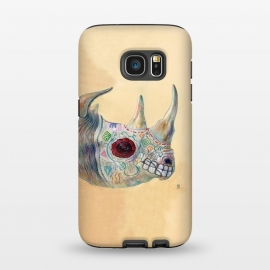 Galaxy S7 StrongFit Day of the Dead Rhino by Brandon Keehner ()