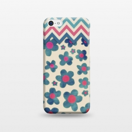 iPhone 5C  Happy Teal Vintage Daisies on Cream by Micklyn Le Feuvre ()