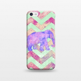 iPhone 5C  Elephant Mint Green Chevron Pink Watercolor by Girly Trend ()