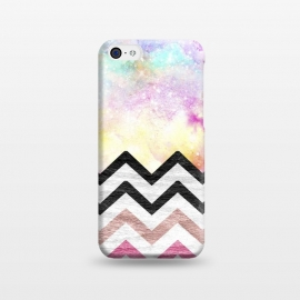 iPhone 5C  SC Watercolor Nebula Space Pink ombre Wood Chevron by Girly Trend ()