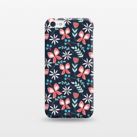iPhone 5C  Midnight Butterfly by Dunia Nalu ( floral,garden,flowers ,flower,butterfly,animals,animal,nature,pattern,insect,aqua)