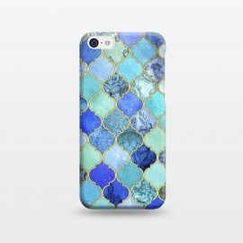 iPhone 5C  Cobalt Blue Aqua and Gold Decorative Moroccan Tile Pattern by Micklyn Le Feuvre