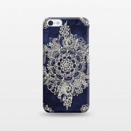 iPhone 5C  Cream Floral Moroccan Pattern on Deep Indigo Ink by Micklyn Le Feuvre ()