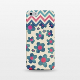 iPhone 5/5E/5s  Happy Teal Vintage Daisies on Cream by Micklyn Le Feuvre