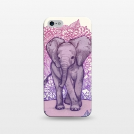 iPhone 5/5E/5s  Cute Baby Elephant in pink purple and blue by Micklyn Le Feuvre ()