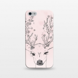 iPhone 5/5E/5s  Cute Handdrawn Floral Deer Antlers Pink by Girly Trend