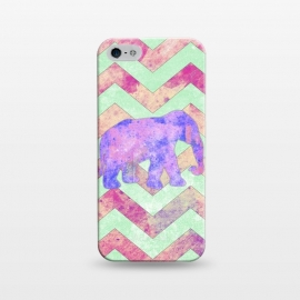 iPhone 5/5E/5s  Elephant Mint Green Chevron Pink Watercolor by Girly Trend