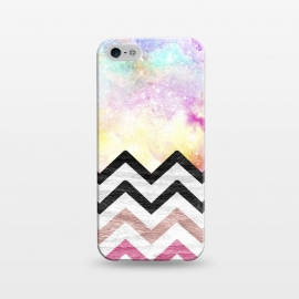iPhone 5/5E/5s  SC Watercolor Nebula Space Pink ombre Wood Chevron by Girly Trend ()