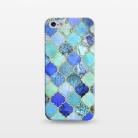 iPhone 5/5E/5s  Cobalt Blue Aqua and Gold Decorative Moroccan Tile Pattern by Micklyn Le Feuvre ()