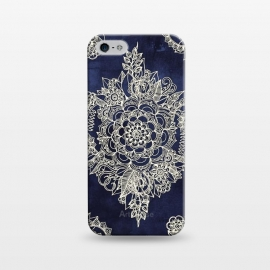 iPhone 5/5E/5s  Cream Floral Moroccan Pattern on Deep Indigo Ink by Micklyn Le Feuvre ()
