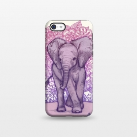 iPhone 5C  Cute Baby Elephant in pink purple and blue by Micklyn Le Feuvre ()