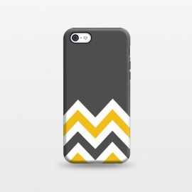 iPhone 5C  Color Blocked Chevron Mustard Gray by Josie Steinfort