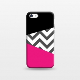 iPhone 5C  Color Blocked Chevron Black Pink  by Josie Steinfort  ()