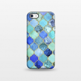 iPhone 5C  Cobalt Blue Aqua and Gold Decorative Moroccan Tile Pattern by Micklyn Le Feuvre ()