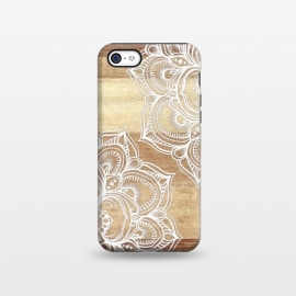 iPhone 5C  White doodles on blonde wood by Micklyn Le Feuvre ()