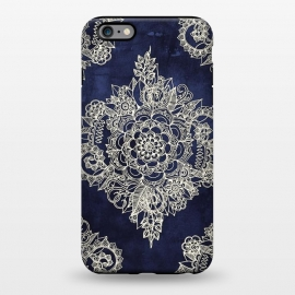 iPhone 6/6s plus StrongFit Cream Floral Moroccan Pattern on Deep Indigo Ink by Micklyn Le Feuvre ()
