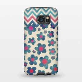 Galaxy S7  Happy Teal Vintage Daisies on Cream by Micklyn Le Feuvre ()