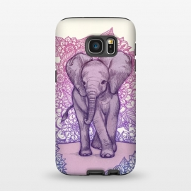 Galaxy S7  Cute Baby Elephant in pink purple and blue by Micklyn Le Feuvre ()