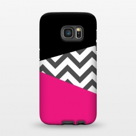 Galaxy S7  Color Blocked Chevron Black Pink  by Josie Steinfort  ()