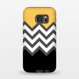 Galaxy S7  Color Blocked Chevron Black Yellow by Josie Steinfort  ()