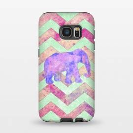 Galaxy S7  Elephant Mint Green Chevron Pink Watercolor by Girly Trend
