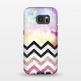 Galaxy S7  SC Watercolor Nebula Space Pink ombre Wood Chevron by Girly Trend