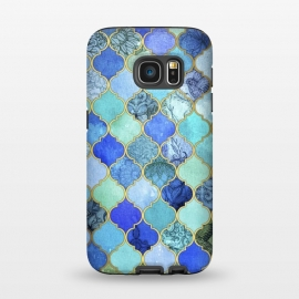 Galaxy S7  Cobalt Blue Aqua and Gold Decorative Moroccan Tile Pattern by Micklyn Le Feuvre ()