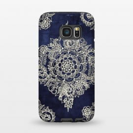 Galaxy S7 StrongFit Cream Floral Moroccan Pattern on Deep Indigo Ink by Micklyn Le Feuvre ()