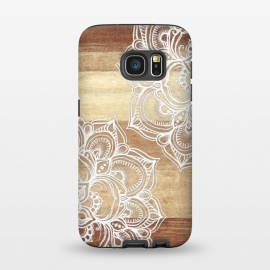 Galaxy S7  White doodles on blonde wood by Micklyn Le Feuvre ()