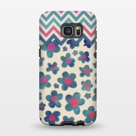 Galaxy S7 EDGE  Happy Teal Vintage Daisies on Cream by Micklyn Le Feuvre ()