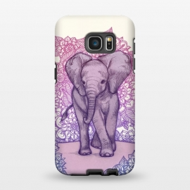 Galaxy S7 EDGE  Cute Baby Elephant in pink purple and blue by Micklyn Le Feuvre ()