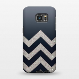 Galaxy S7 EDGE  Chevron Block Silver Grey by Monika Strigel ()