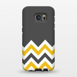Galaxy S7 EDGE  Color Blocked Chevron Mustard Gray by Josie Steinfort  ()