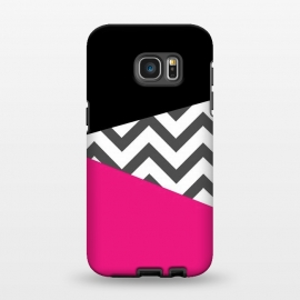 Galaxy S7 EDGE  Color Blocked Chevron Black Pink  by Josie Steinfort  ()