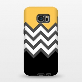 Galaxy S7 EDGE  Color Blocked Chevron Black Yellow by Josie Steinfort  ()