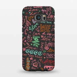 Galaxy S7 EDGE  Love Love Love ballpoint doodles by Micklyn Le Feuvre ()