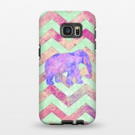 Galaxy S7 EDGE  Elephant Mint Green Chevron Pink Watercolor by Girly Trend