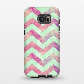 Galaxy S7 EDGE  Mint Pink Watercolor Chevron by Girly Trend ()