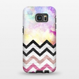 Galaxy S7 EDGE  SC Watercolor Nebula Space Pink ombre Wood Chevron by Girly Trend