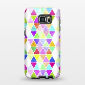 Galaxy S7 EDGE  Watercolor Abstract Pastel Triangles by Girly Trend ()