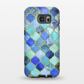 Galaxy S7 EDGE  Cobalt Blue Aqua and Gold Decorative Moroccan Tile Pattern by Micklyn Le Feuvre
