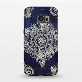 Galaxy S7 EDGE  Cream Floral Moroccan Pattern on Deep Indigo Ink by Micklyn Le Feuvre ()